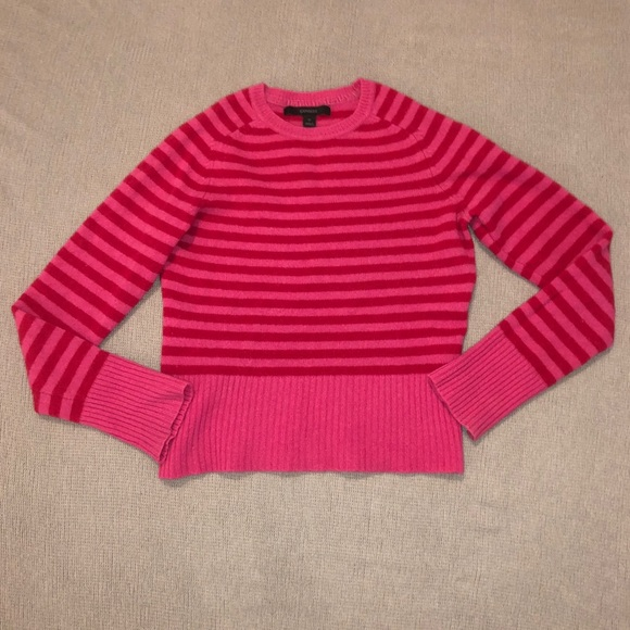 Express Sweaters - Express Red & Pink Striped Wool Sweater